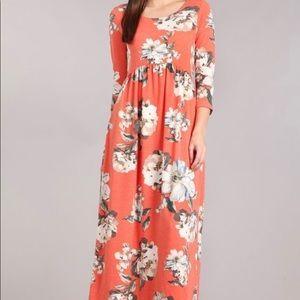 Boutique Peachy Floral Maxi Dress